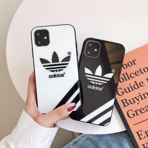 Adidas Style Tempered Glass Designer iPhone Case For iPhone 12 SE 11 Pro Max X XS Max XR 7 8 Plus - Casememe