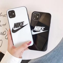Nike Style Tempered Glass Designer iPhone Case For iPhone 12 SE 11 Pro Max X XS Max XR 7 8 Plus - Casememe