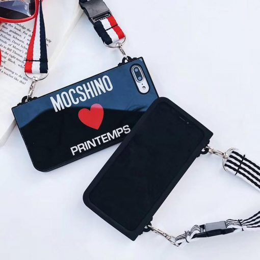 Moschino Style Tempered Glass Luxury Designer iPhone Case With Lanyard For iPhone X XS XS Max XR 7 8 Plus - Casememe