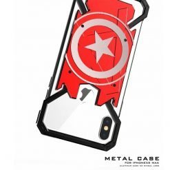 iPhone XS Max Case Marvel Captain America Style Aluminum Metal Frame Shockproof Protective Bumper Case For iPhone X XR XS XS Max 7 8 Plus - Casememe