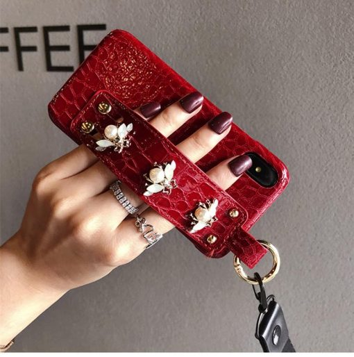 Luxury 3D GC Style Pearl Bee Leather Designer iPhone Case With Wristband Strap Lanyard For iPhone SE 11 PRO MAX X XS XR XS Max - Casememe