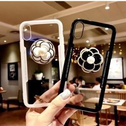 Luxury Pearl Flower Airbag Pop Socket Transparent Case For iPhone SE 11 PRO MAX X / XS / XS Max / XR - Casememe