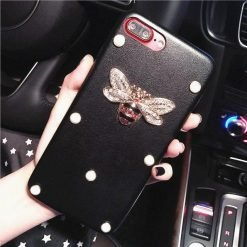 GC Style Pearl Rhinestone Honeybee Luxury Leather Designer iPhone Case For iPhone X XS XS Max XR - Casememe