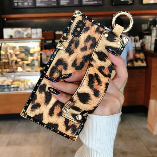 Luxury Fashion Trunk Box Pink Leopard Rose Leather Designer iPhone Case With Strap Wristband For iPhone SE 11 PRO MAX X XS XR XS Max - Casememe