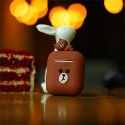 LINE FRIENDS Style Cute AirPods Silicone TPU Protective Case With Ring Holder For Apple Airpods 1 & 2 - Casememe