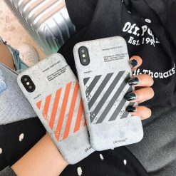 Fashion Sport Off White Style Stripe Silicone Protective Bumper Designer iPhone Case For iPhone SE 11 PRO MAX X XS XS Max XR - Casememe