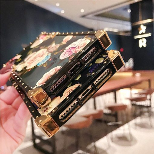 Luxury Blue Ray Floral Peony Rose Trunk Tempered Glass Perfume Box Designer iPhone Case With Pop Socket For iPhone SE 11 PRO MAX X XS XS Max XR - Casememe