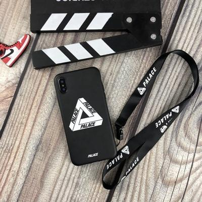 PALACE Style Stripe Street Fashion Silicone Designer iPhone Case With Lanyard For iPhone X XS XS Max XR 7 8 Plus - Casememe