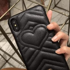 Fashion Luxury GC Style Soft Leather Airbag Protective iPhone Case Heart For iPhone SE 11 Pro Max X XS Max XR 7 8 Plus - Casememe