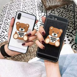 Moschino Style Bear Pop Socket Luxury Retro PU Leather Designer iPhone Case For iPhone X XS XS Max XR 7 8 Plus - Casememe