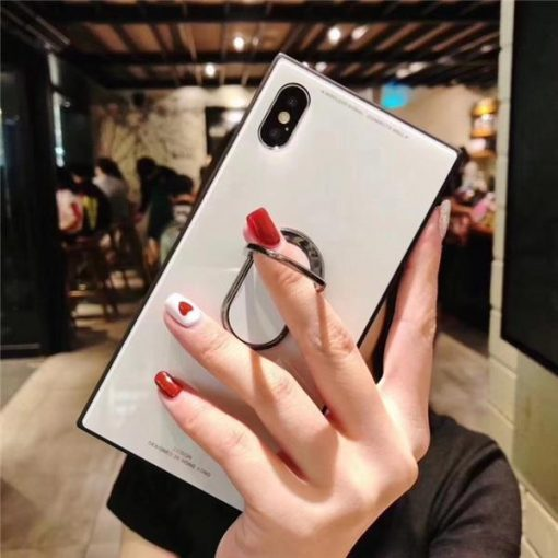 Best Modern Square Fashion Classic Tempered Glass iPhone Case With Hidden Ring Holder Kickstand For iPhone X XS XS Max XR - Casememe