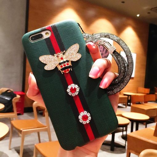 Fashion GC Style 3D Bee Stripe Leather Shockproof Designer iPhone Case With Glitter Lanyard For iPhone SE 11 PRO MAX X XS XS Max XR - Casememe