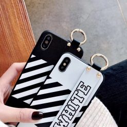 Luxury Off White OW Style Soft TPU SIlicone Designer iPhone Case With Leather Wristband For iPhone SE 11 PRO MAX X XS XS Max XR - Casememe