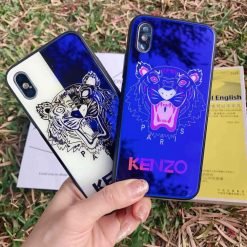 Luxury Fashion Kenzo Style Blue Ray Light Tiger Tempered Glass Designer iPhone Case For iPhone SE 11 PRO MAX X XS XS Max XR - Casememe