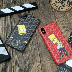 Cute Luxury Goyard Style Simpsons Quality Leather Designer iPhone Case For iPhone X XS XS Max XR - Casememe