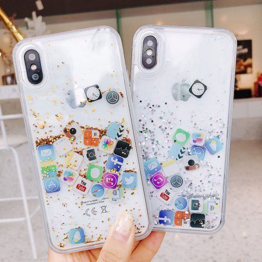 Modern Apple Style App Icon Gold Silver Glitter Quicksand Silicone Designer iPhone Case For iPhone SE 11 PRO MAX X XS XR XS Max - Casememe