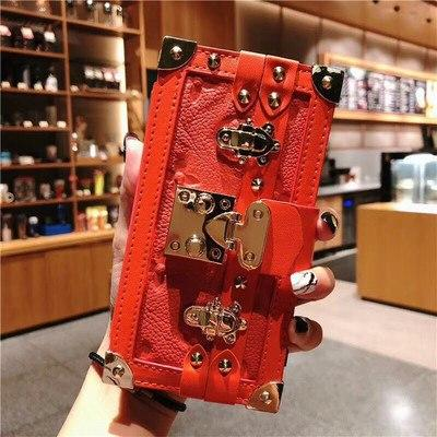 Box Luxury Leather 100% Handmade Gold Metal Lock Card Holder Wallet Bumper Classic Designer iPhone Case For iPhone 12 SE 11 PRO MAX X XS XS Max XR - Casememe