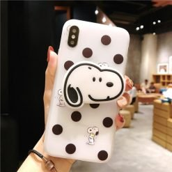 Cute Snoopy 3D Airbag Protective Silicone iPhone Case With Finger Holder For iPhone X / XS / XS Max / XR - Casememe