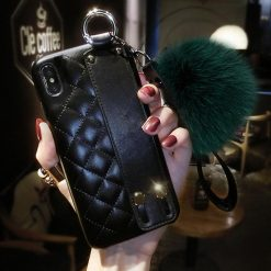 Luxury CC Style Grid Soft Leather Bumper Designer iPhone Case With Wristband Bracket Fur Ball For iPhone SE 11 PRO MAX X XS XS Max XR - Casememe