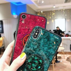Luxury Marble Tempered Glass Shockproof Diamond Pop Socket Designer iPhone Case With Furry Ball For iPhone SE 11 PRO MAX X  XS  XS Max XR - Casememe