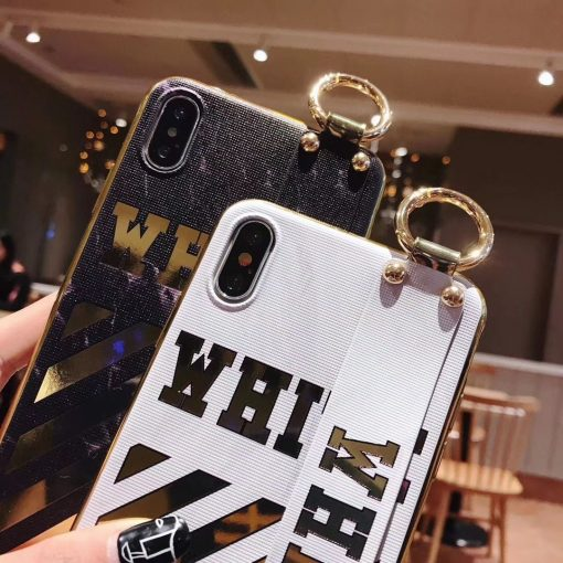 Luxury Off White OW Style Golden Strip Leather Kickstand Designer iPhone Case With Wristband Hand Strap For iPhone SE 11 PRO MAX X XS XS Max XR - Casememe