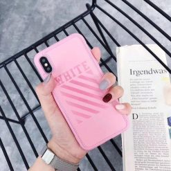 Off White OW Fashion Twill Stripes Leather Soft Silicone Sport Case For iPhone SE 11 PRO MAX X / XS / XS Max / XR - Casememe