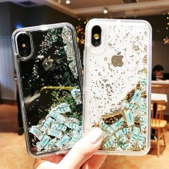 Luxury Fashion Dollar Rain Gold Dynamic Glitter Quicksand Silicone Designer iPhone Case For iPhone SE 11 PRO MAX X XS XR XS Max - Casememe