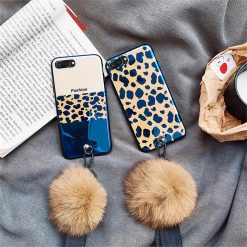 Luxury Fashion Blue Ray Leopard Glossy Golden 3D Diamond Pop Socket Designer iPhone Case With Fur Ball For iPhone X XS XR XS Max - Casememe