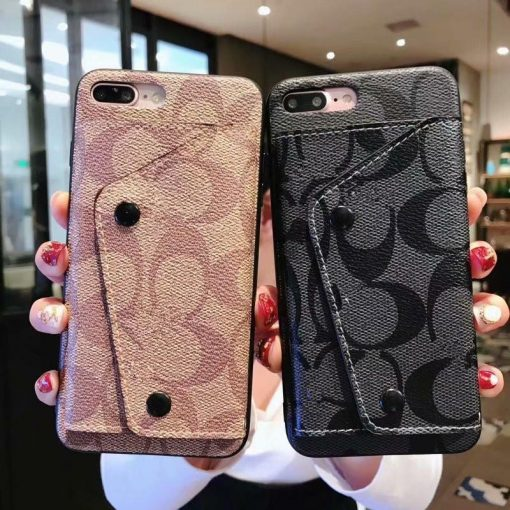 Luxury Coach Style High Quality PU Leather Wallet Designer iPhone Case For iPhone X XS XS Max XR - Casememe