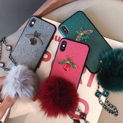 3D Luxury GC Style Diamond Bee Glitter Silicone Designer iPhone Case With Jewel Bracelet Fox Fur Ball For iPhone SE 11 PRO MAX X XS XS Max XR - Casememe