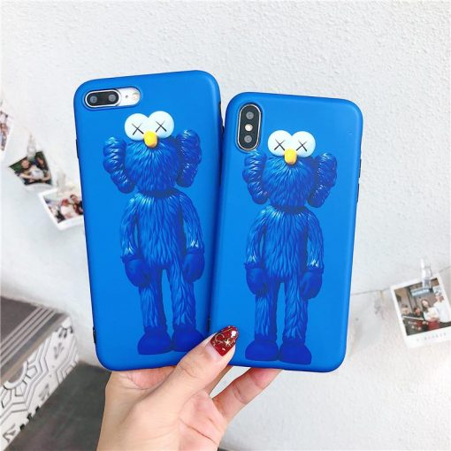 Luxury Kaws Sesame Street Cookie Elmo Matte Soft Silicone Designer iPhone Case For iPhone X - Casememe