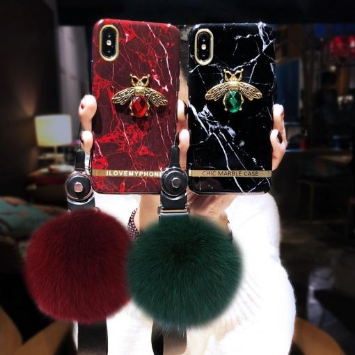 Luxury Gucci Style Bee Marble Ruby Granite Bling Silicone Designer iPhone Case With Furry Ball For iPhone X XS XR XS Max - Casememe