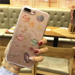 Vivienne Westwood Style Space Planet Glitter Starry Night Silicone Transparent Designer iPhone Case For iPhone X XS XR XS Max - Casememe