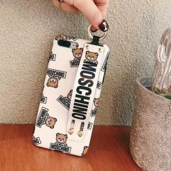 Moschino Style Bear Fashion Cute Leather Designer iPhone Case With Wristband Strap Ring Holder Kickstand For iPhone X XS XS Max XR 7 8 Plus - Casememe