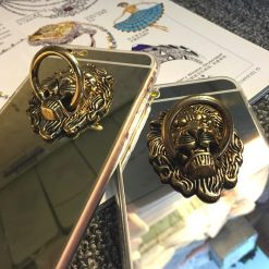 Luxury Mirror Lion Ring Holder Shiny Silicone TPU Designer iPhone Case For iPhone SE 11 PRO MAX X XS XR XS Max - Casememe