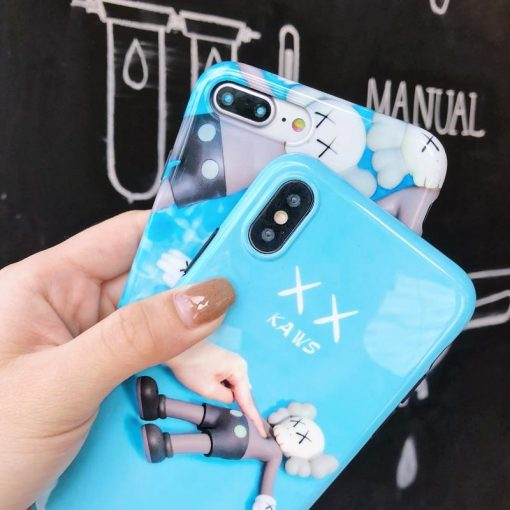 KAWS Style Fashion Soft Silicone Glossy Designer iPhone Case For iPhone X XS XS Max XR 7 8 Plus - Casememe