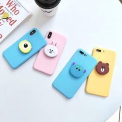 LINE Friends Style Matte 3D Pop Socket Kickstand Silicone Designer Cute iPhone Case For iPhone X XS XS Max XR 7 8 Plus - Casememe