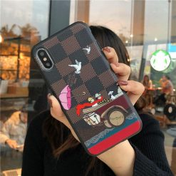Luxury Damier Style Leather Vacation Stylish Silicone Designer iPhone Case For iPhone X XS XS Max XR 7 8 Plus - Casememe