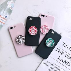Starbucks Style 3D Pop Socket Coffee Kickstand Soft Silicone Designer iPhone Case For iPhone X XS XS Max XR 7 8 Plus - Casememe