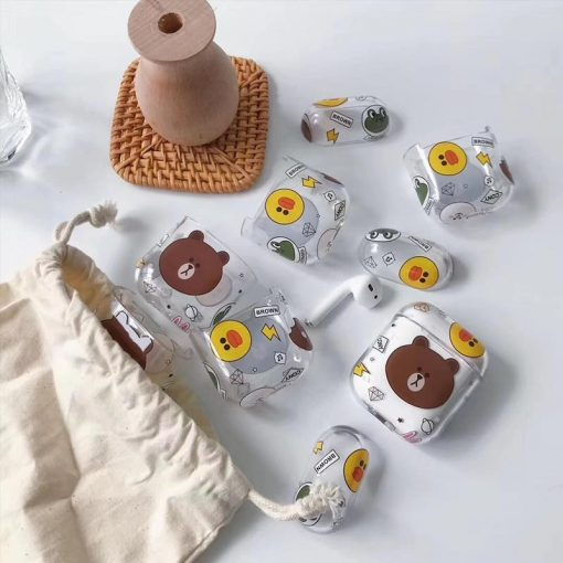 LINE Friends Style Bear Duck Clear Hard Protective Shockproof Case For Apple Airpods 1 & 2 - Casememe