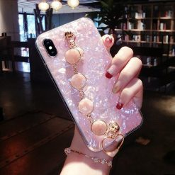 Luxury Shiny Pearl Shiny Glitter Jewel Hand Strap Wristband Silicone Designer iPhone Case For iPhone X XS XR XS Max - Casememe