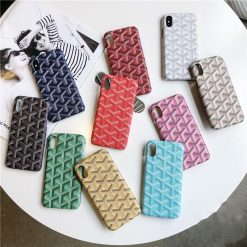 Luxury Goyard Style Leather Shockproof Protective Designer  iPhone Case For iPhone X XS XS Max XR - Casememe