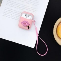 Glitter Sexy Lip Heart Silicone Protective Shockproof Case For Apple Airpods 1 & 2 - Casememe