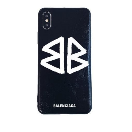 Balenciaga Style Fashion Genuine Leather Shockproof Protective Designer iPhone Case For iPhone 12 SE 11 Pro Max X XS Max XR 7 8 Plus - Casememe