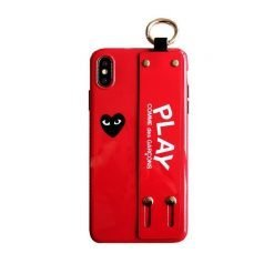 Glossy PLAY Comme Des Garcons Style Soft Leather Designer iPhone Case With Wristband Bracelet Strap For iPhone X XS XS Max XR - Casememe